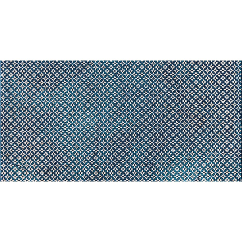 Indigo Ottoman Textile 2 Marble Tiles 7×14