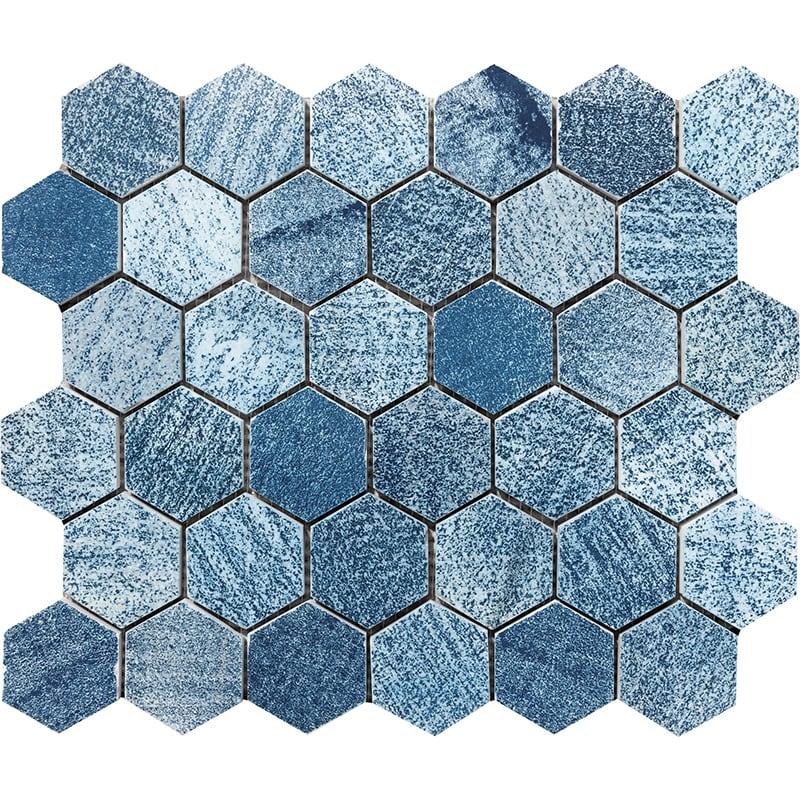 Indigo Indigo Hexagon 2 Marble Mosaics 26,5×31
