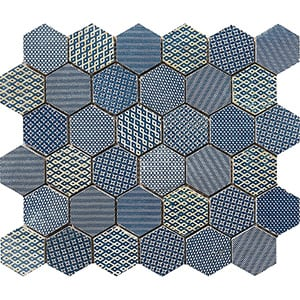 Indigo Ottoman Textile Blend Hexagon 2 Marble Mosaics 26,5x31