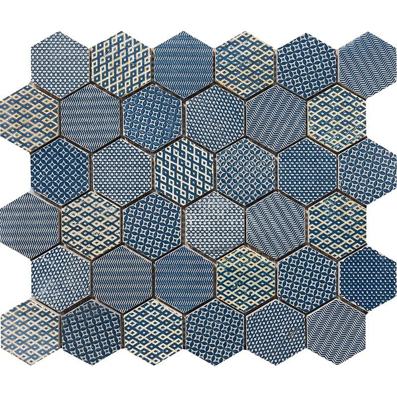 Indigo Ottoman Textile Blend Hexagon 2 Marble Mosaics 26,5×31