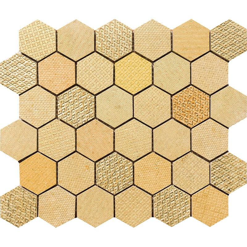 Gold Ottoman Textile Blend Hexagon 2 Marble Mosaics 26,5×31