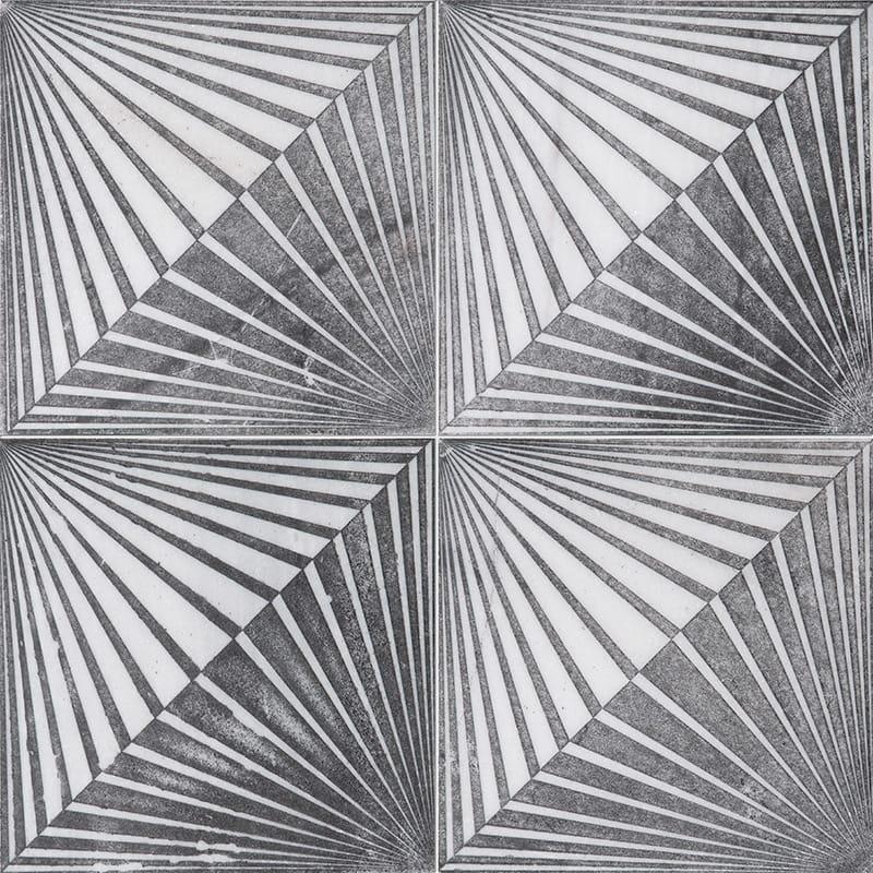 Fantasy White Blade Black Diced Marble Tiles 25,4×25,4