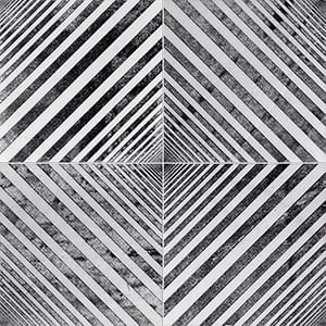 Fantasy White Deep Black Diced Marble Tiles 25,4x25,4