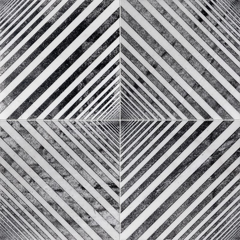 Fantasy White Deep Black Diced Marble Tiles 25,4×25,4