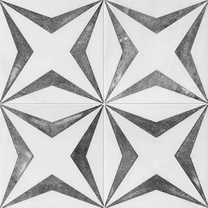 Fantasy White Stars Black Diced Marble Tiles 20,3x20,3