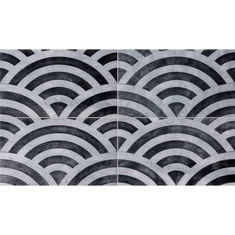 Allure Japanese Wave Black Diced Marble Tiles 23,5x40,6