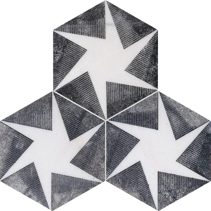 Fantasy White Rotation Black Diced Marble Tiles 20,3×20,3