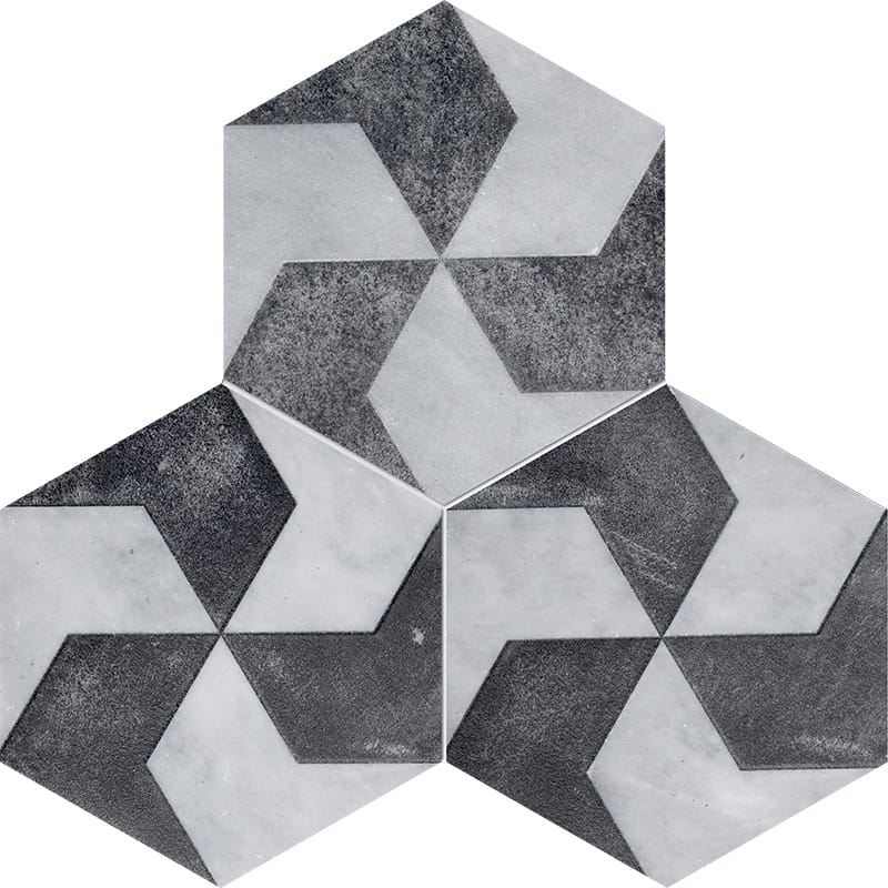 Allure Polygons Black Diced Marble Tiles 20,3×20,3
