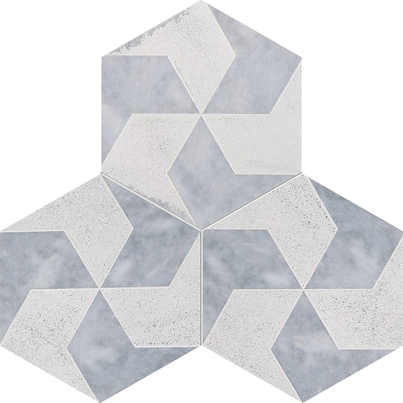Allure Polygons Beige Diced Marble Tiles 20,3×20,3