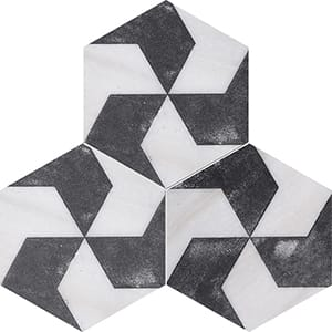 Fantasy White Polygons Black Diced Marble Tiles 20,3x20,3