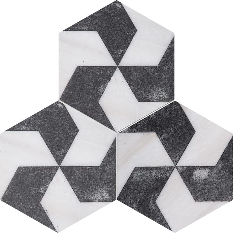 Fantasy White Polygons Black Diced Marble Tiles 20,3×20,3