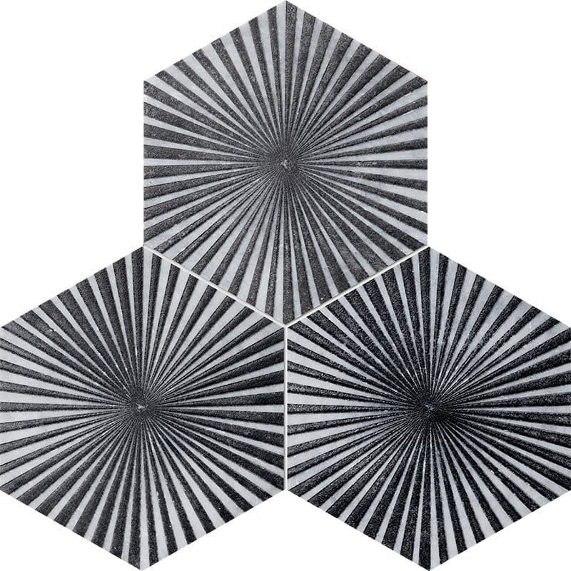 Allure Reflection Black Diced Marble Tiles 20,3×20,3