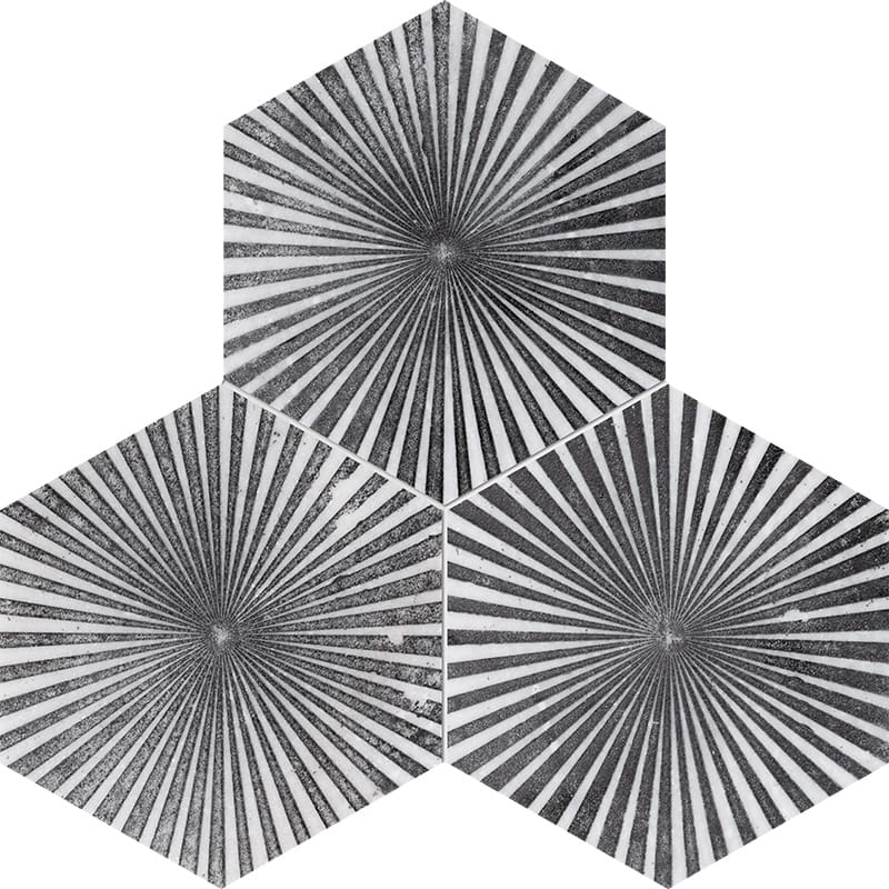 Fantasy White Reflection Black Diced Marble Tiles 20,3×20,3