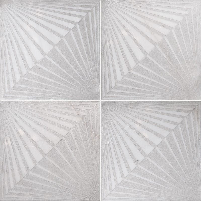 Fantasy White Blade Gray Diced Marble Tiles 25,4×25,4