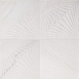 Fantasy White Blade Beige Diced Marble Tiles 25,4x25,4