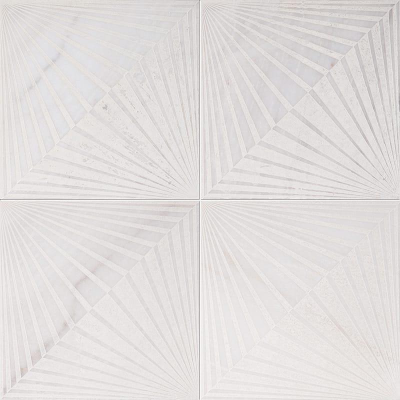 Fantasy White Blade Beige Diced Marble Tiles 25,4×25,4
