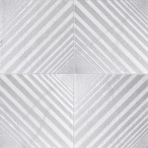 Fantasy White Deep Gray Diced Marble Tiles 25,4x25,4
