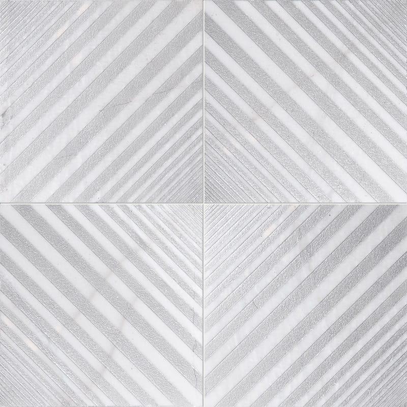 Fantasy White Deep Gray Diced Marble Tiles 25,4×25,4