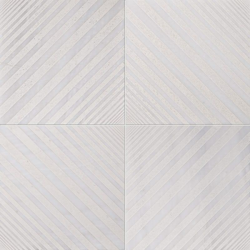 Fantasy White Deep Beige Diced Marble Tiles 25,4×25,4