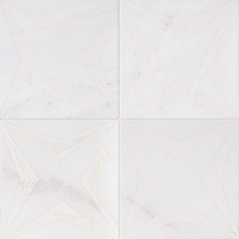 Fantasy White Stars Beige Diced Marble Tiles 20,3×20,3