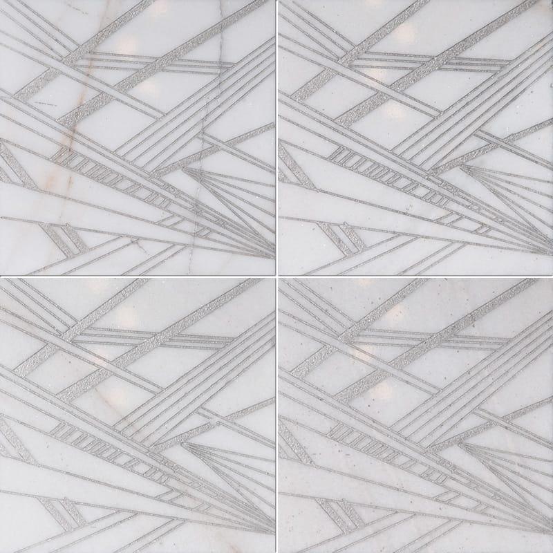 Fantasy White A21 Gray Diced Marble Tiles 20,3×20,3