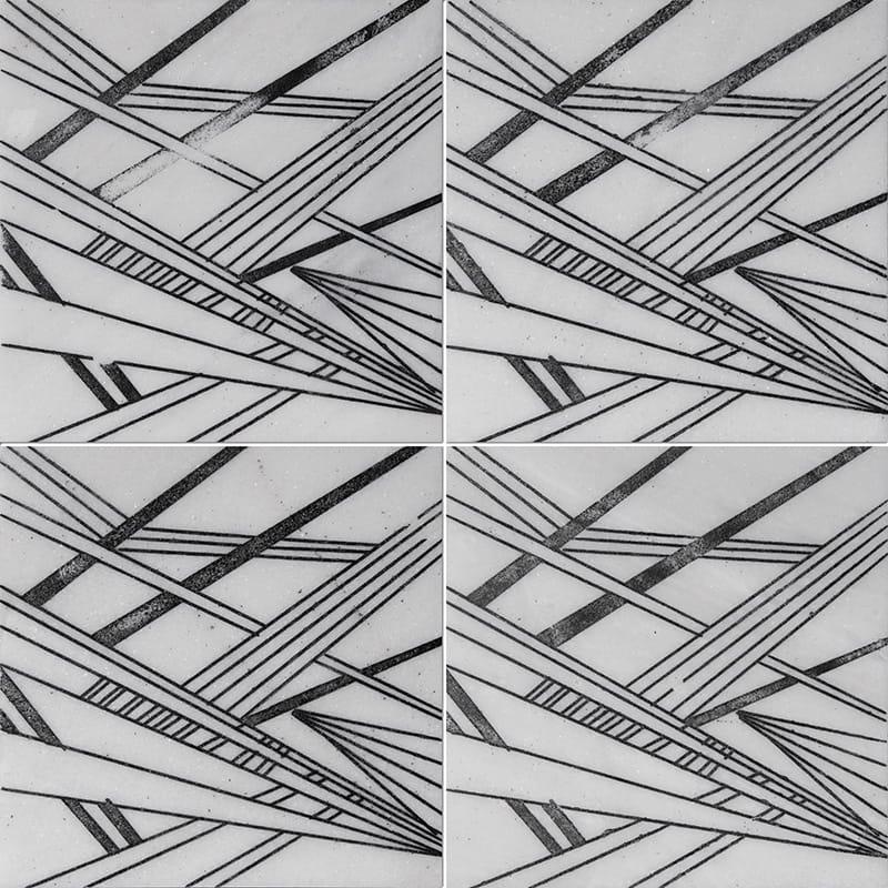 Fantasy White A21 Black Diced Marble Tiles 20,3×20,3