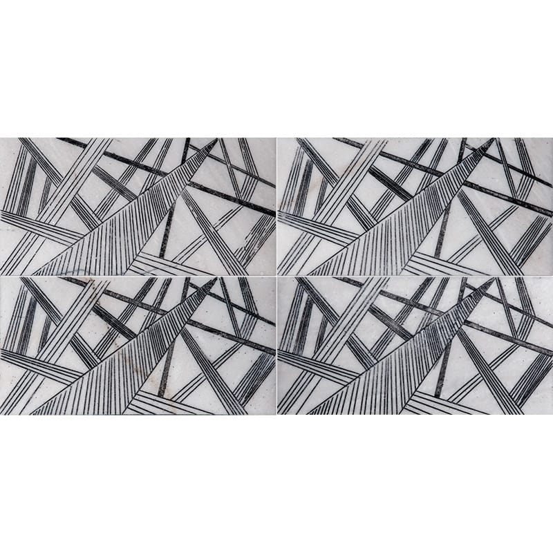 Fantasy White A22 Black Diced Marble Tiles 20,3×20,3