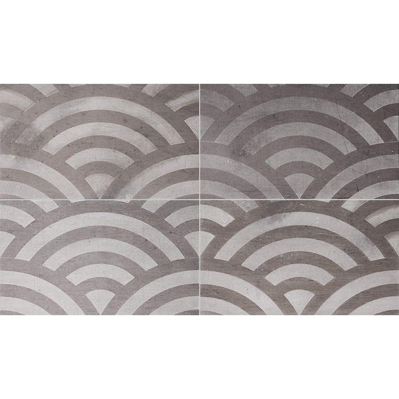 Bosphorus Japanese Wave Brown Diced Limestone Tiles 23,5×40,6