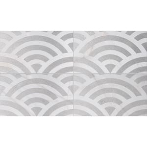 Fantasy White Japanese Wave Gray Diced Marble Tiles 23,5x40,6