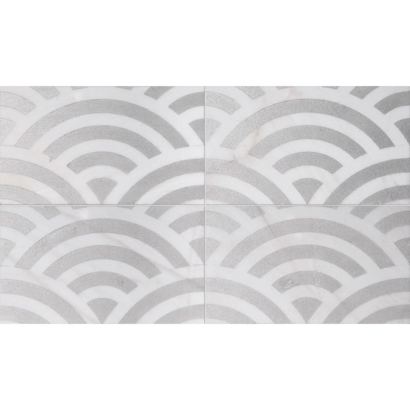 Fantasy White Japanese Wave Gray Diced Marble Tiles 23,5×40,6