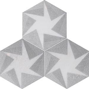 Fantasy White Rotation Gray Diced Marble Tiles 20,3x20,3