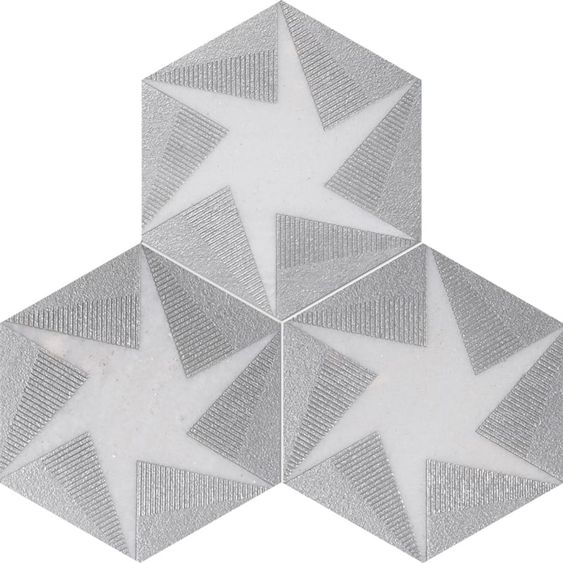 Fantasy White Rotation Gray Diced Marble Tiles 20,3×20,3