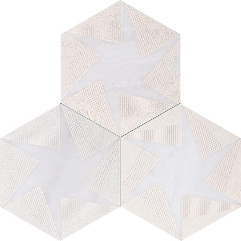 Fantasy White Rotation Beige Diced Marble Tiles 20,3×20,3