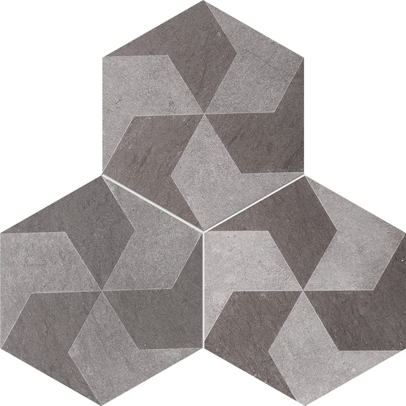 Bosphorus Polygons Brown Diced Limestone Tiles 20,3x20,3