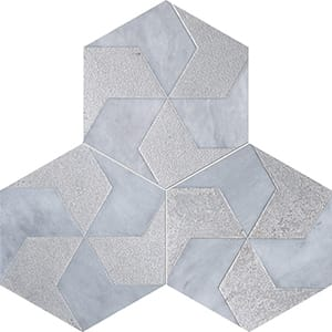 Allure Polygons Gray Diced Marble Tiles 20,3x20,3