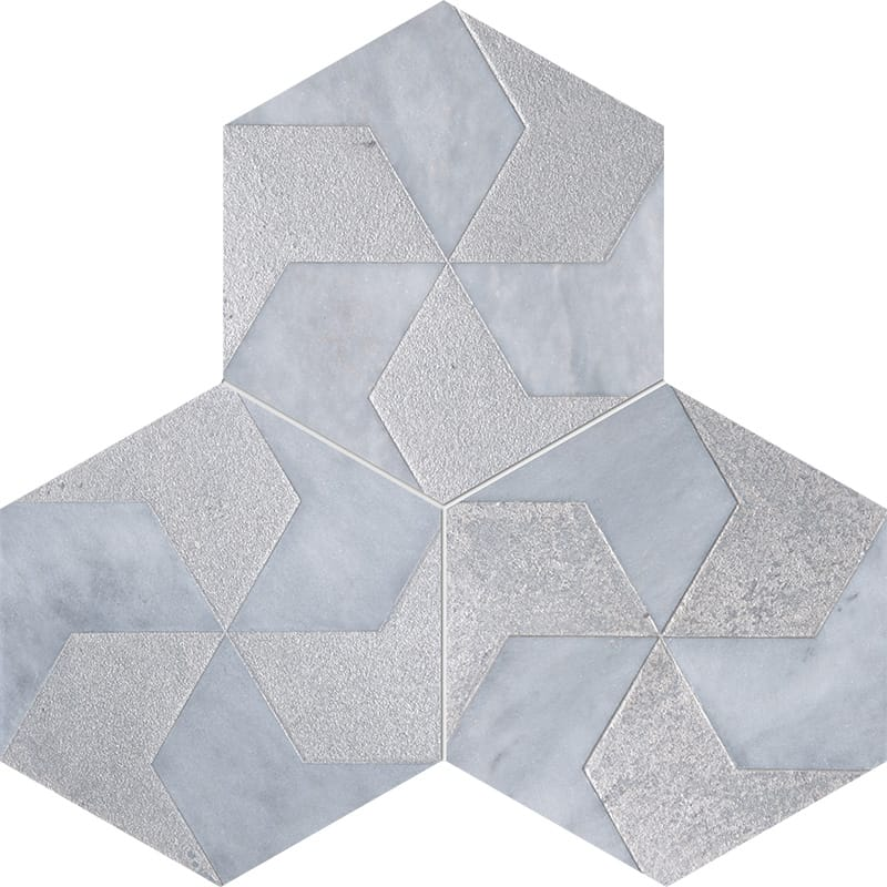 Allure Polygons Gray Diced Marble Tiles 20,3×20,3