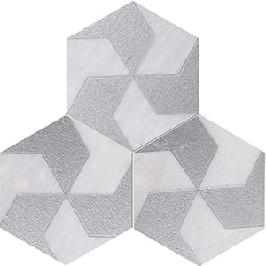 Fantasy White Polygons Gray Diced Marble Tiles 20,3x20,3