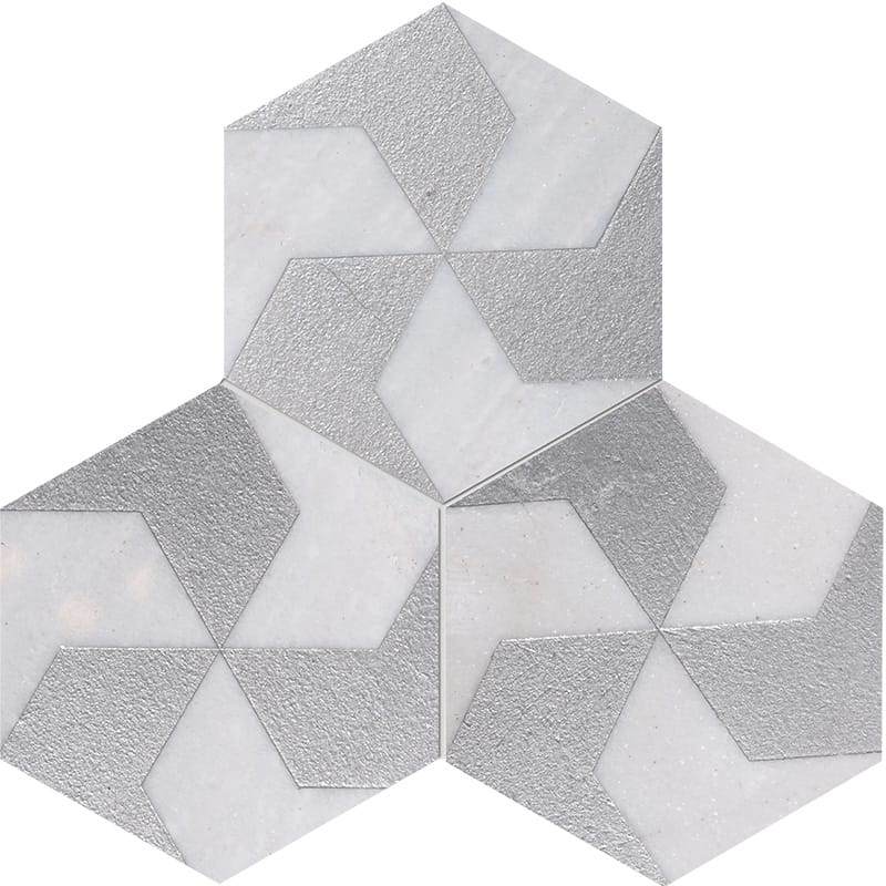 Fantasy White Polygons Gray Diced Marble Tiles 20,3×20,3