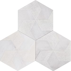 Fantasy White Polygons Beige Diced Marble Tiles 20,3x20,3