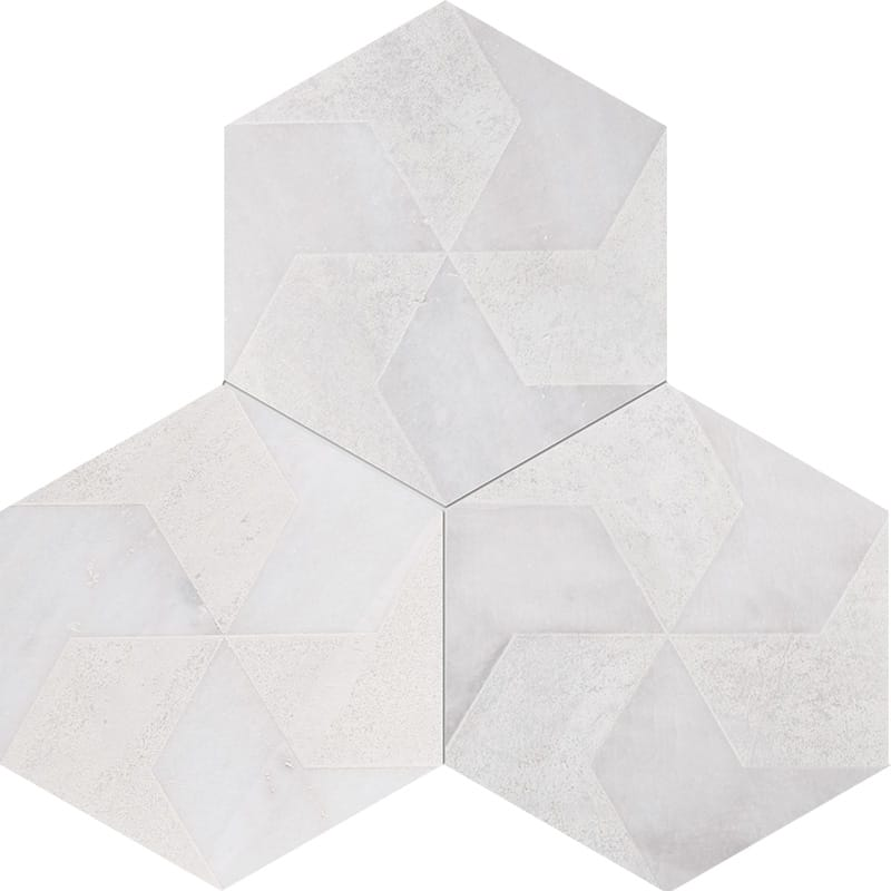 Fantasy White Polygons Beige Diced Marble Tiles 20,3×20,3