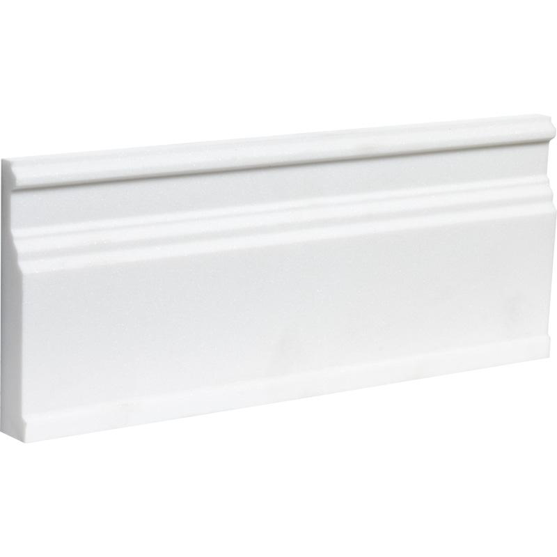 Aspen White Honed Base Marble Moldings 12x30,5