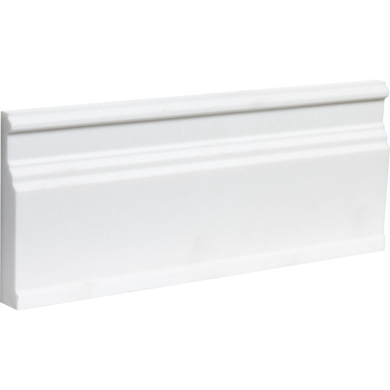 Aspen White Polished Base Marble Moldings 12x30,5