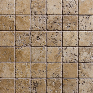 Walnut Dark Tumbled 5x5 Travertine Mosaics 30,5x30,5