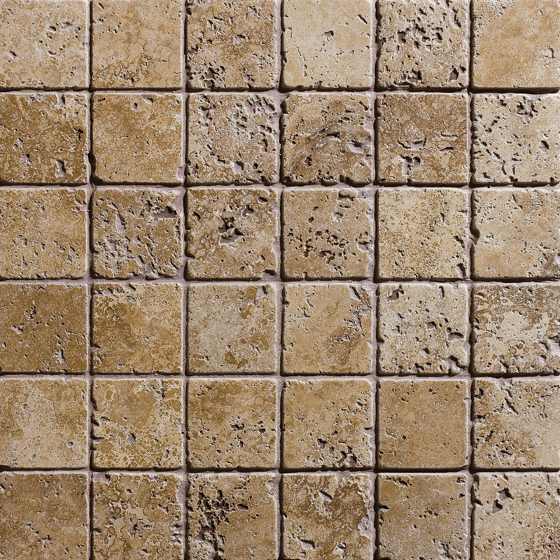 Walnut Dark Tumbled 30,5x30,5 2x2 Travertine Mosaics