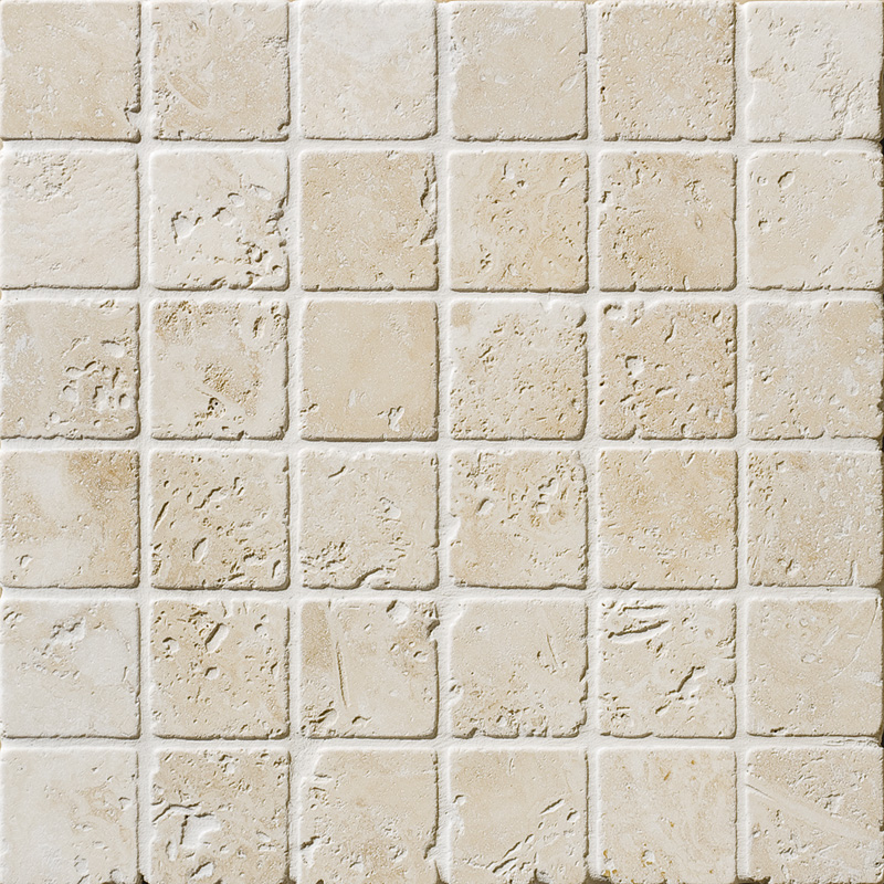 Ivory Tumbled 5x5 Travertine Mosaics 30,5x30,5
