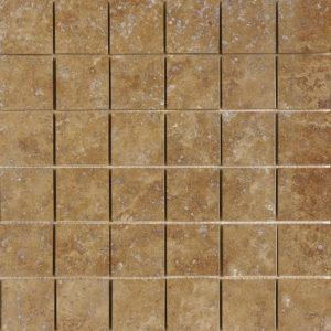 Walnut Dark Honed&filled 5x5 Travertine Mosaics 30,5x30,5