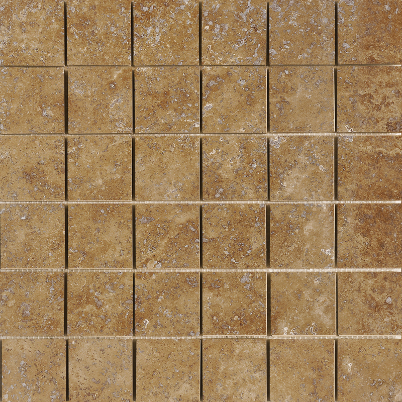 Walnut Dark Honed&filled 30,5x30,5 2x2 Travertine Mosaics