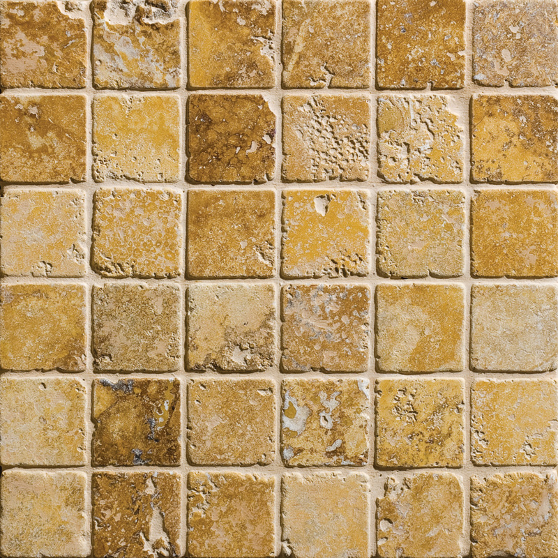 Golden Sienna Tumbled 30,5x30,5 2x2 Travertine Mosaics