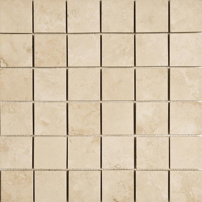 Ivory Honed&filled 5×5 Travertine Mosaics 30,5×30,5