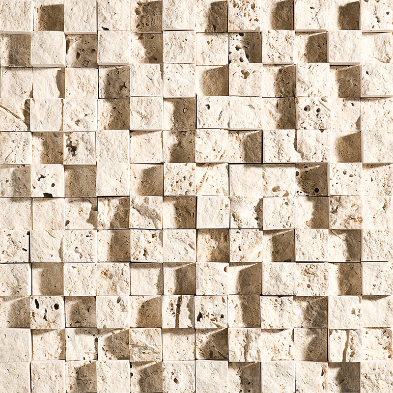 Ivory Rock Face 32x32 1x1 Travertine Mosaics